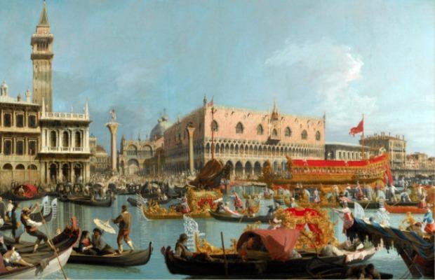 """Vue du Grand canal de Venise, """"Le Bucentaure de retour au mA?le"""", par Canaletto."""