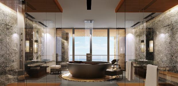 Salle de bain d'une suite prA�sidentielle.